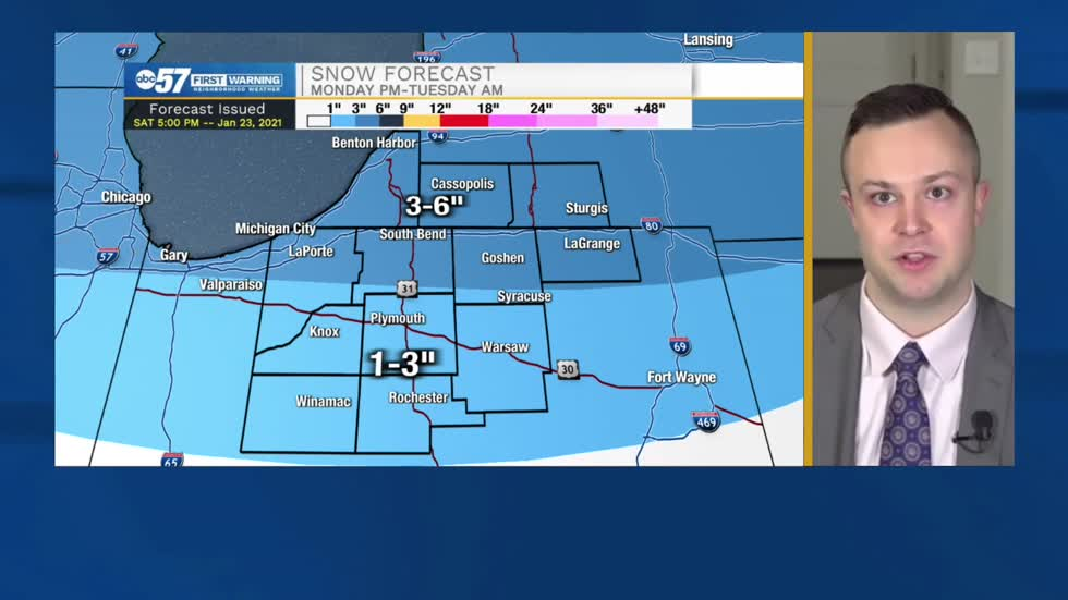 Snow chances remain in the forecast through Tuesday