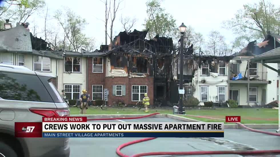 Multiple apartments destroyed in fire at Main Street Village in Granger