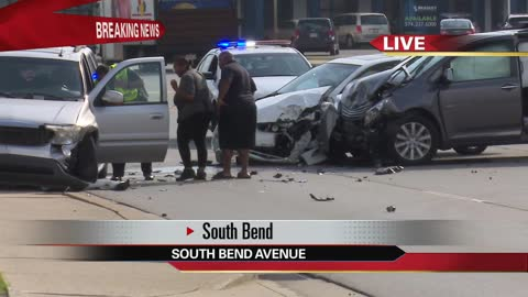 Three cars involved in crash on South Bend Avenue