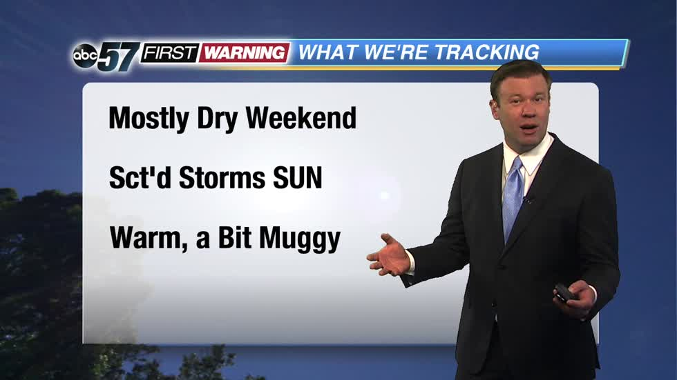 A warm and mostly dry weekend, chance of storms more isolated.