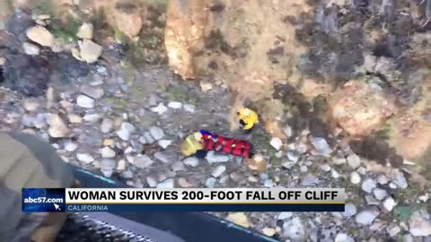 A woman fell off a 200-foot cliff in Southern California. Her cries for help may have saved her
