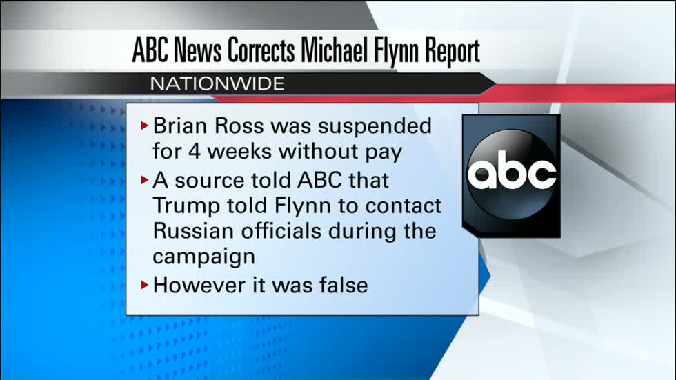 ABC News suspends Brian Ross for 4 weeks over erroneous Flynn story
