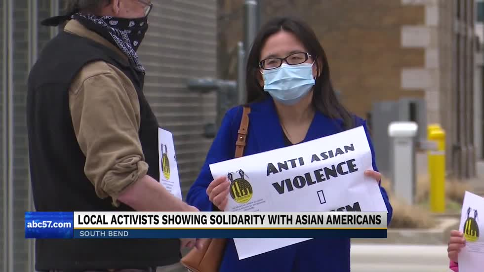South Bend Activists hold demonstration to support Asian American Communities