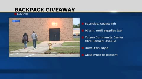 Backpack giveaway in Elkhart