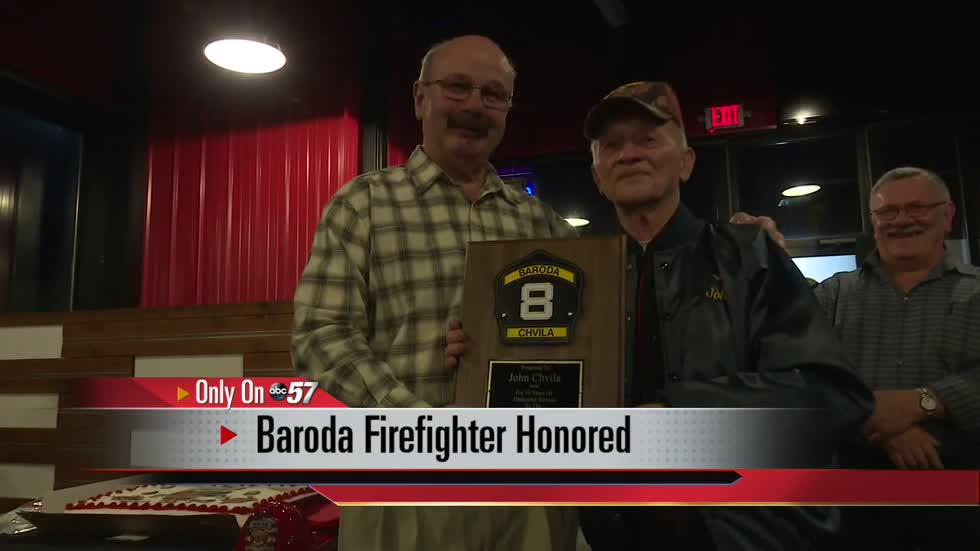 Baroda volunteer firefighter honored for 50 years on the job