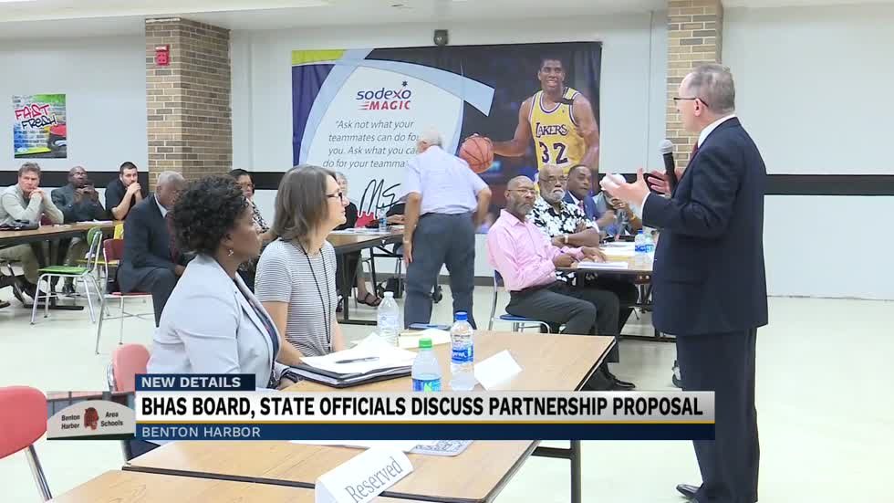 Benton Harbor Area Schools school board and state officials discuss partnership proposal