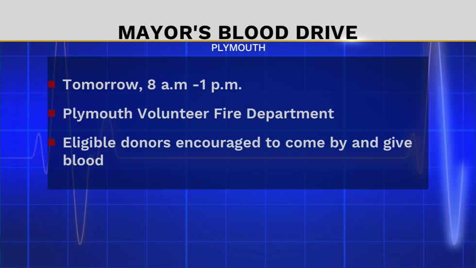 Blood drive being held at the Plymouth Volunteer Fire Department