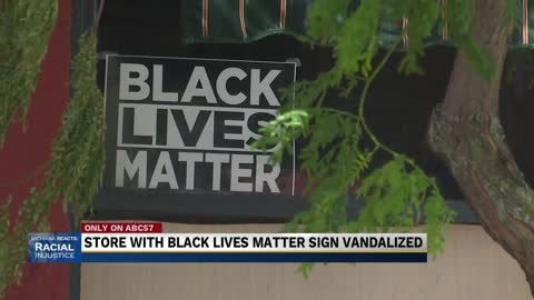Brick thrown at Goshen Businesses window next to BLM sign