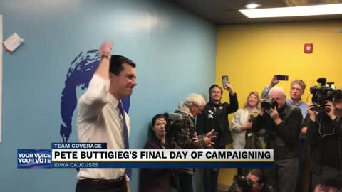 Buttigieg rallies supporters in hours before Iowa caucuses