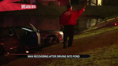 Man recovering after driving into pond
