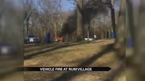 Video shows car on fire in Rum Village