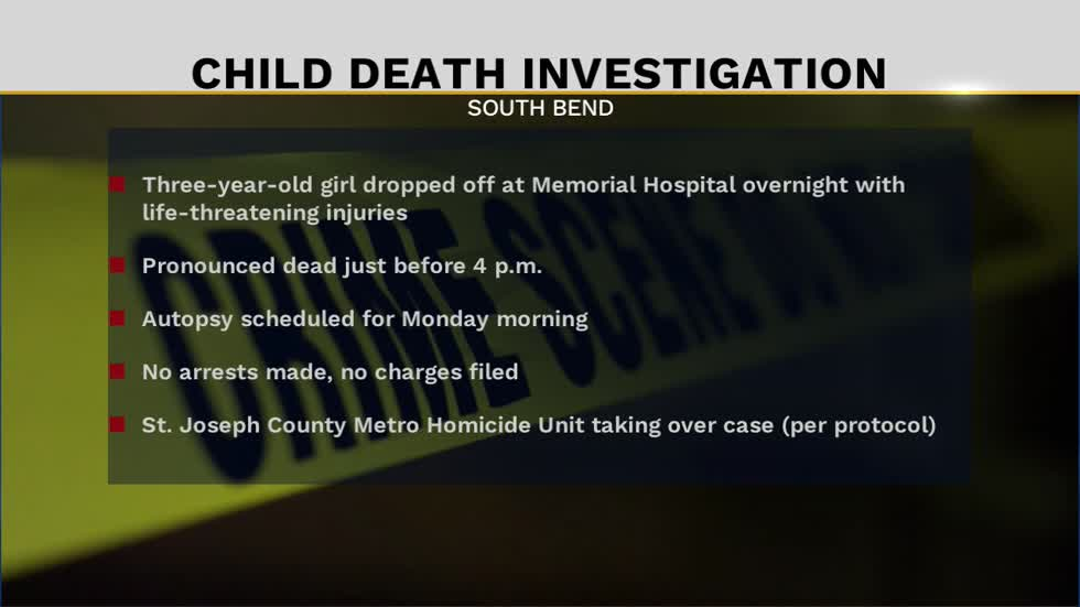 Child dropped off at Memorial Hospital has died