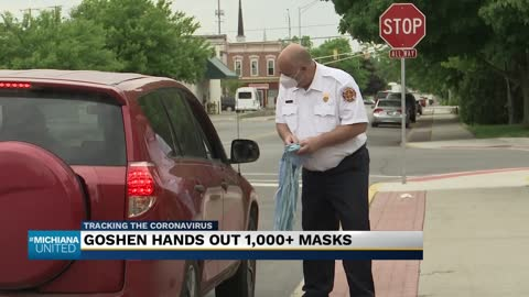 City of Goshen free mask giveaway was held on Monday