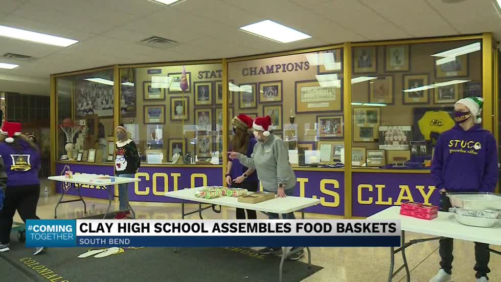 "Clay High School continues its 100-day ""Season of Service"" with food basket donations"