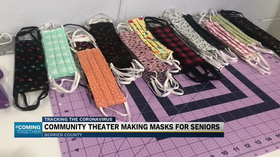 Community theater group making masks for seniors