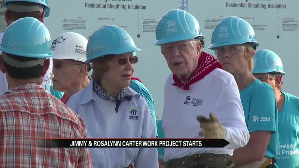 Crews begin building for first day of Carter Work Project