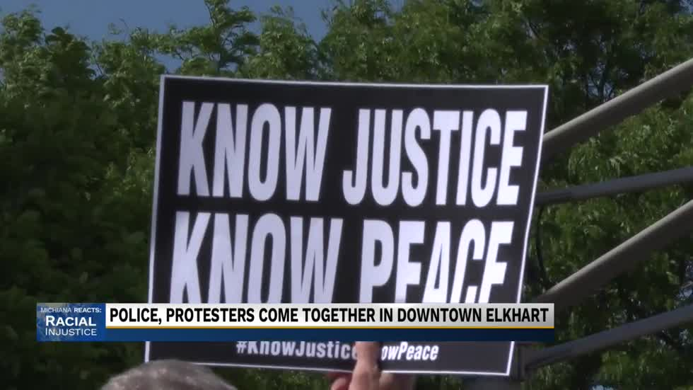 Demonstrators took the streets in downtown Elkhart to peacefully protest