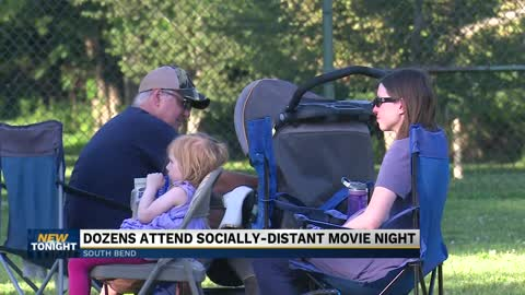 Dozens attend socially-distant movie night