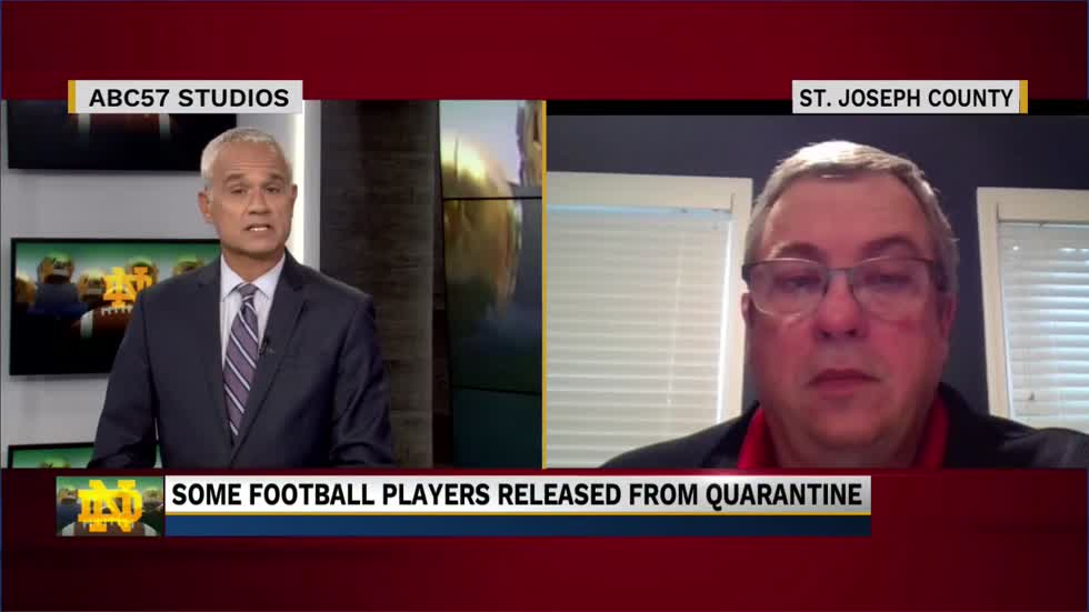 Dr. Mark Fox discusses Notre Dame Football players released from...