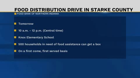 Drive-through food distribution in Knox on Friday