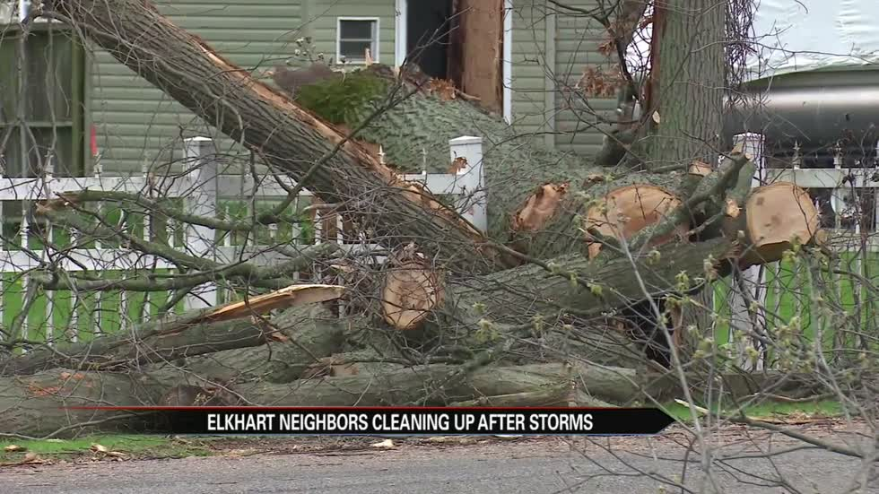 Elkhart neighborhood facing cleanup after downed trees, flooding