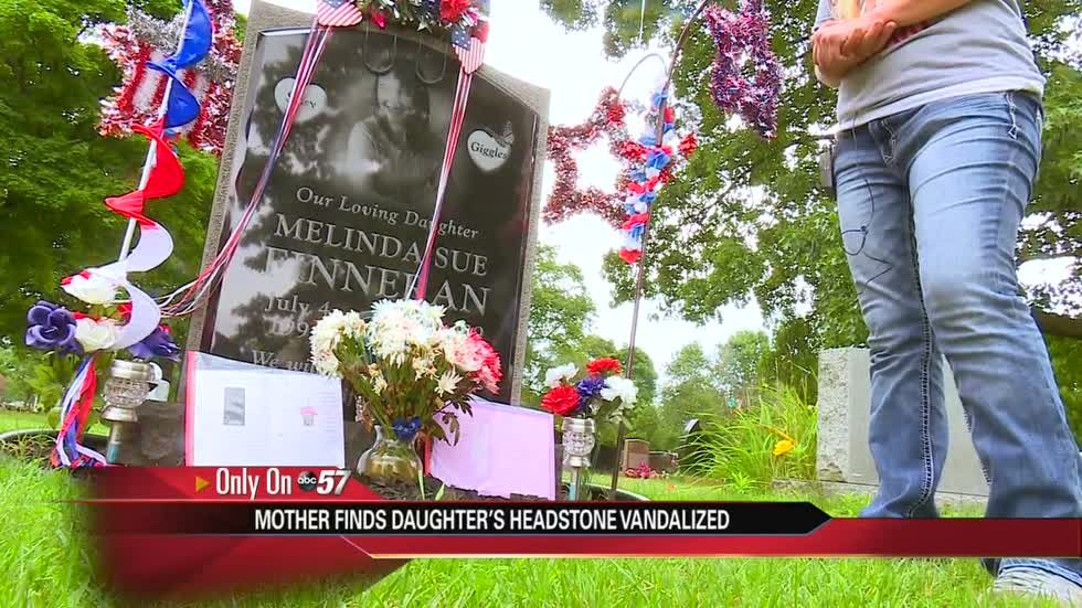 Family finds daughter's headstone defaced, vandalism in cemetery
