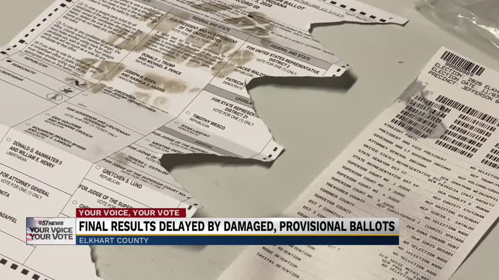 Elkhart County voting numbers delayed by damaged, provisional ballots