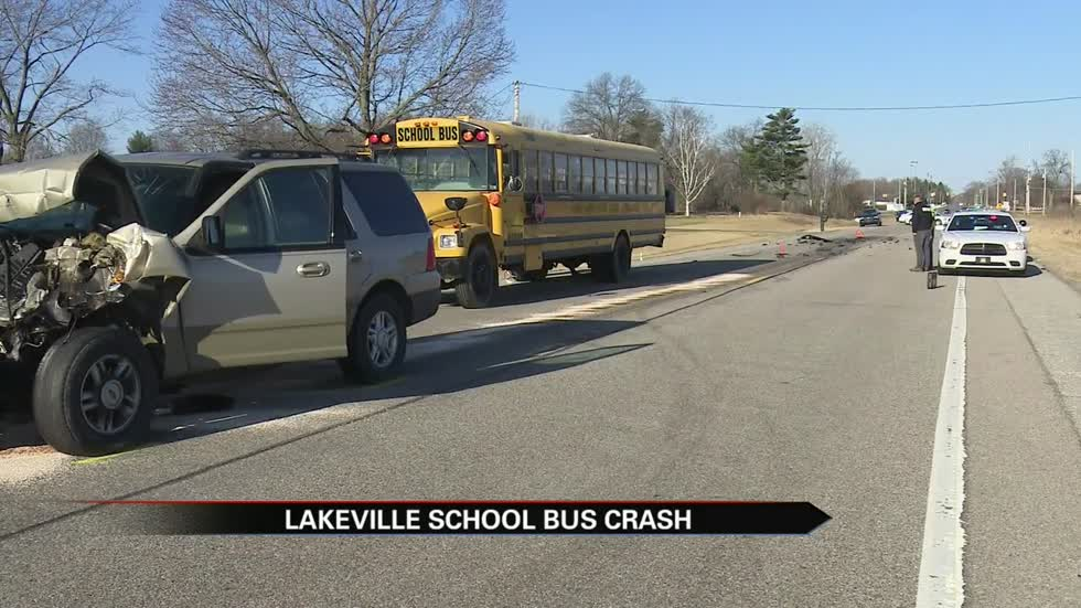 Five injured in school bus and SUV crash on Pierce Road near Lakeville
