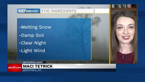 Melting snow can cause fog formation