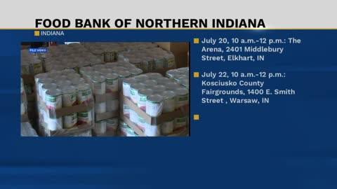 Food Bank of Northern Indiana will be distributing food