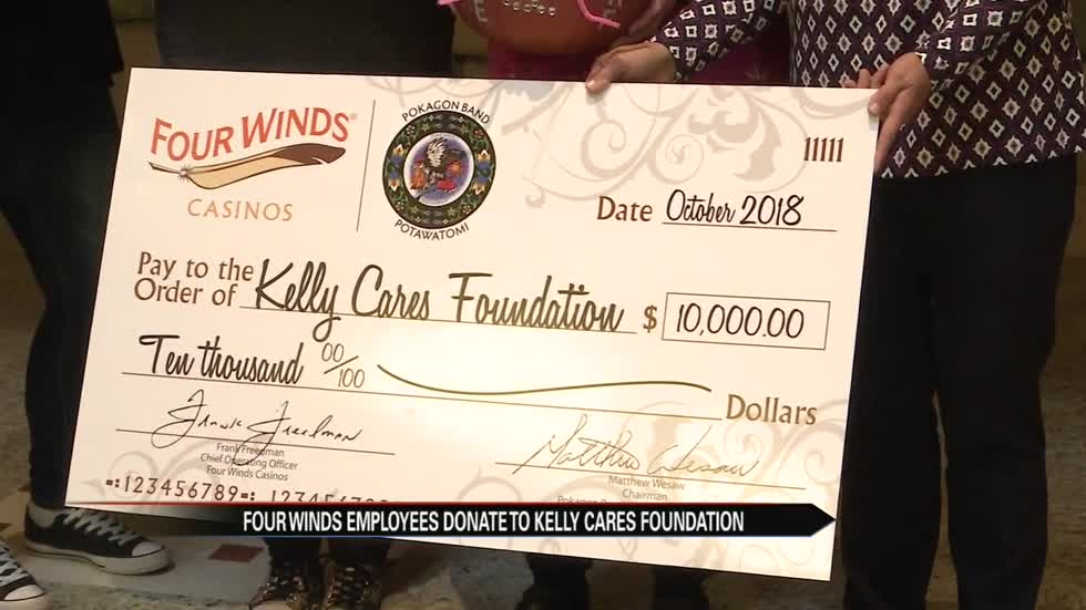 Four Winds Casinos employees donate $10,000 to Kelly Cares Foundation