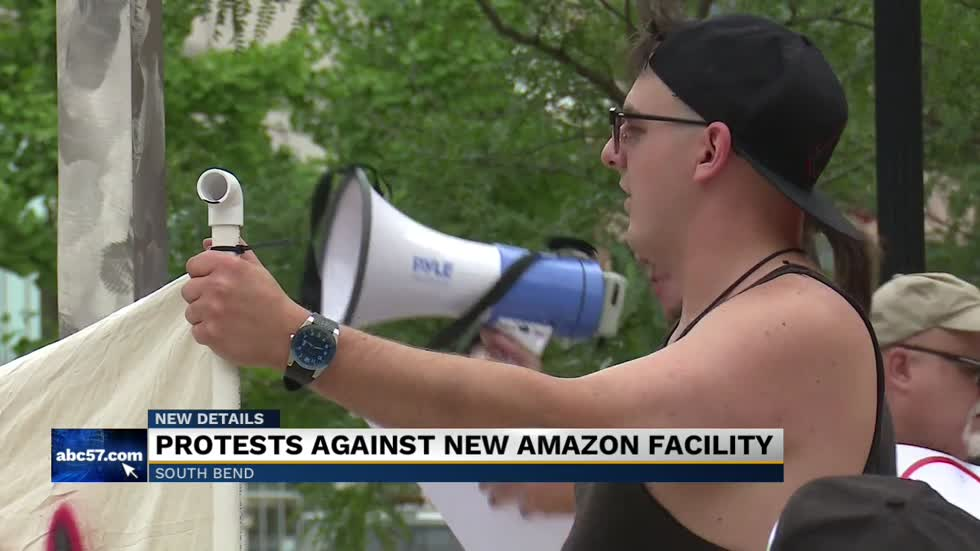 Group protests Amazon facilities move to South Bend