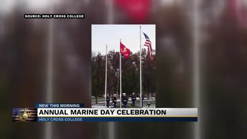 Holy Cross holds 16th annual Marine Corps Morning Colors Ceremony