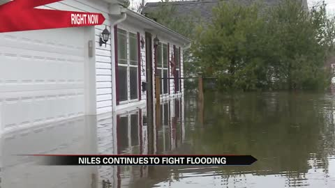 Homes swallowed by floodwaters in Niles neighborhood