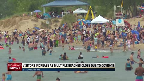 Indiana beach closures sends more visitors to Michigan beaches