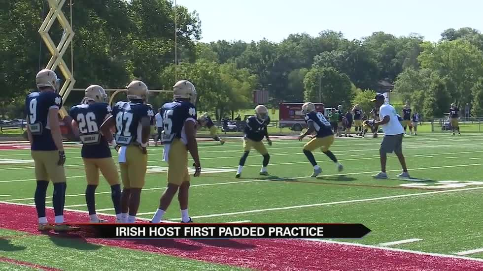 Irish suit up for first padded practice in Culver