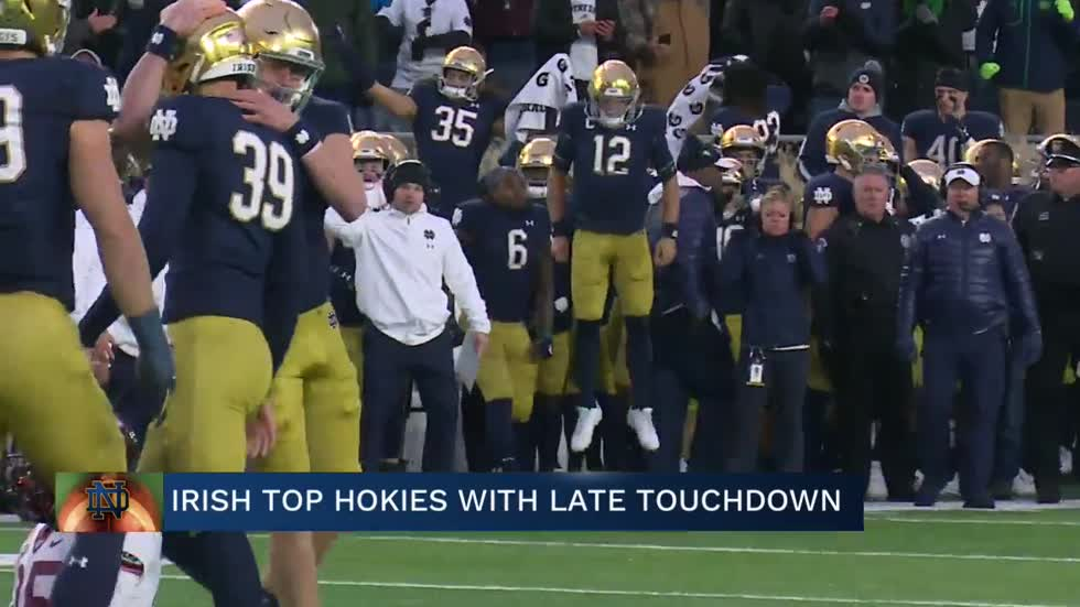 Last-minute touchdown lifts Notre Dame over Virginia Tech