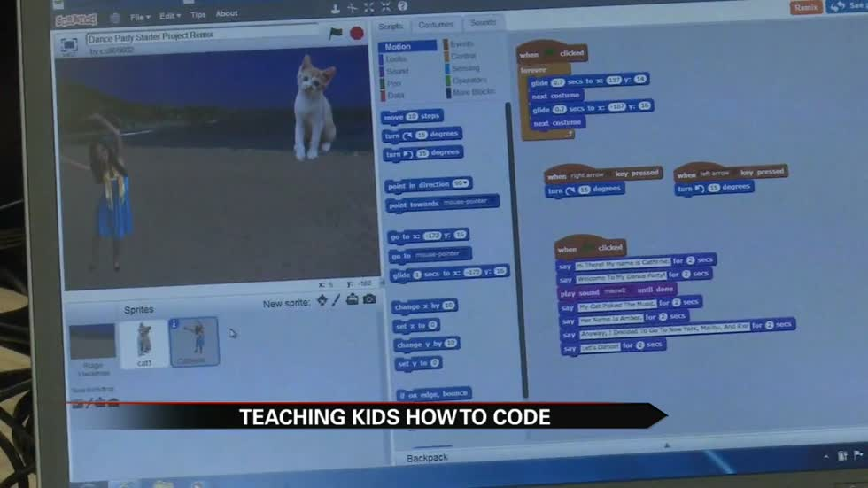 Kids learning coding; how to make music at Elkhart Public Library