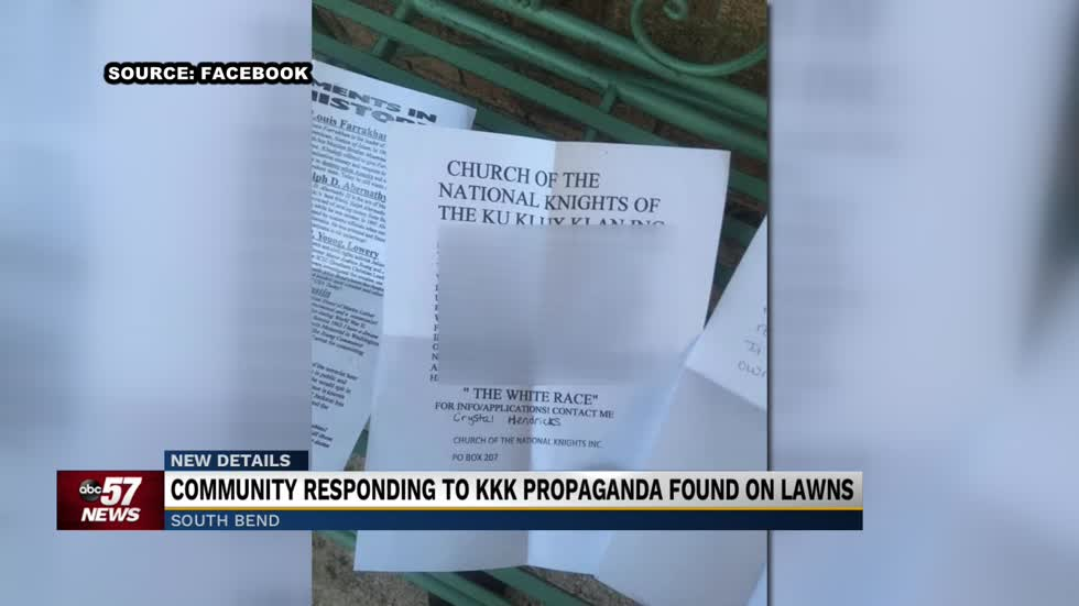 KKK flyers found in yards of houses along Crumstown Highway in South Bend