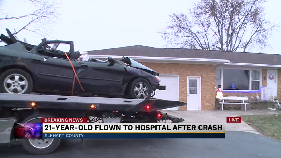 Man airlifted to hospital with life threatening injuries after Elkhart County crash