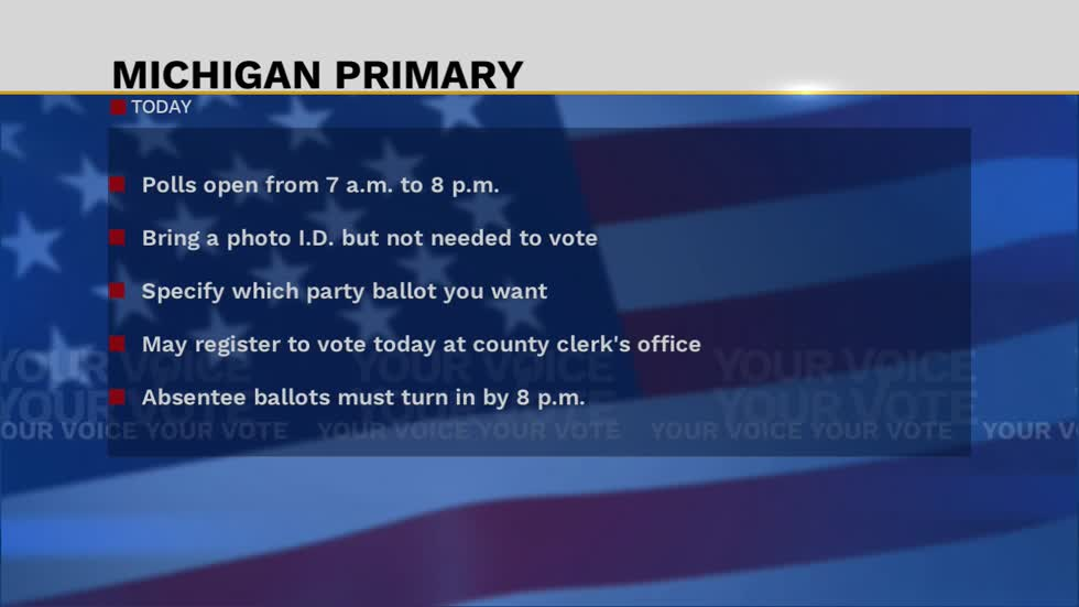 Michiganders set to vote in Tuesday's primary