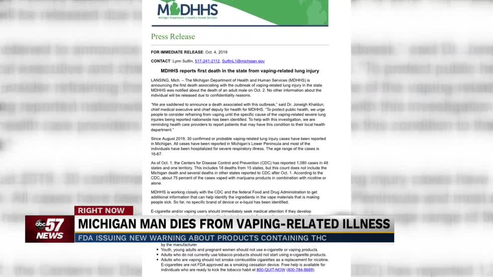Michigan reports its first suspected vaping-related death