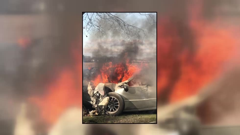 Driver suffers minor injuries after car catches fire