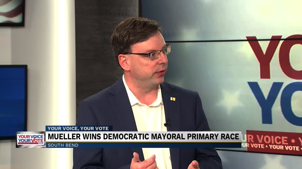 Mueller discusses winning Democratic nomination for South Bend mayor
