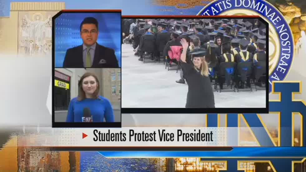 ND students walk out on graduation; protestors rally off campus