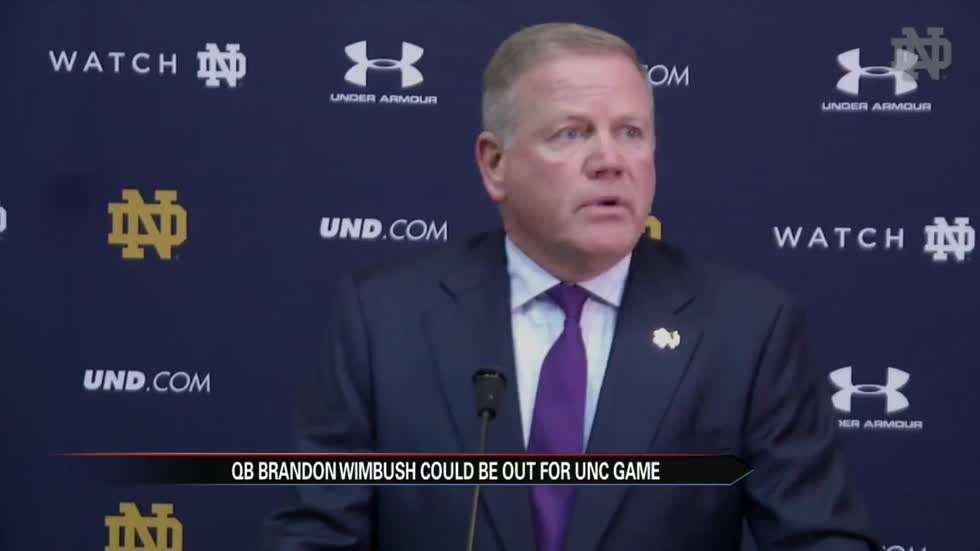 Notre Dame could be playing without star quarterback Wimbush on Saturday