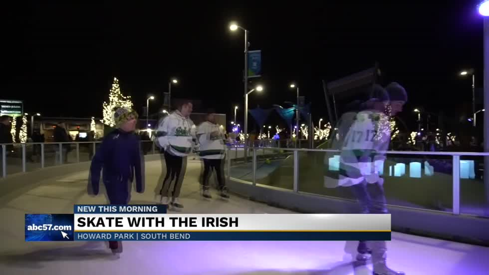 Notre Dame hockey players skate with community members at Howard Park event