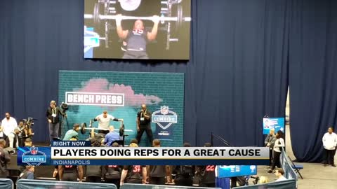 Notre Dame's Julian Okwara bench presses for a cause at NFL Combine