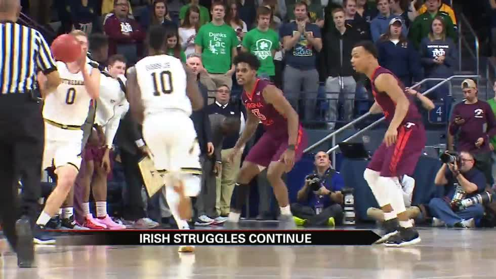 Notre Dame's rough streak continues with loss to Virginia Tech
