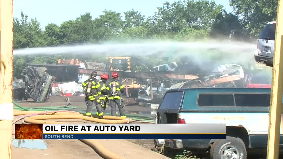 Oil retention tank at auto yard in South Bend catches fire